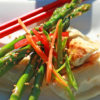 Sesame-Roasted-Asparagus-with-Warm-Pot-Stickers